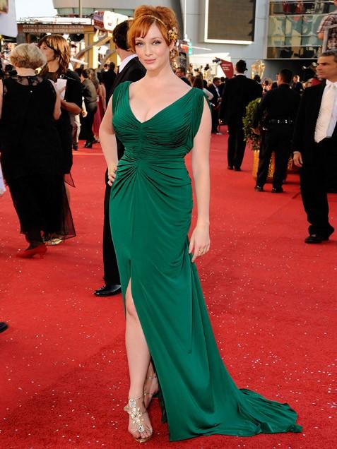Christina Hendricks Green Gown Highlander